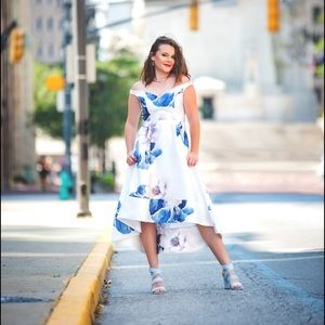 Floral blue & white high+low dress